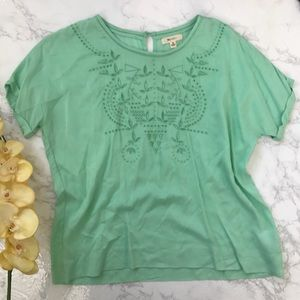 Everly mint green laser cut out top shirt s